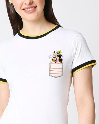 Shop Goofy Mickey Pocket Half sleeve Rib T-shirt-Front
