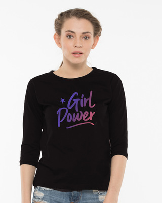 Shop Gradient Girl Power Round Neck 3/4th Sleeve T-Shirt-Front