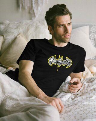 Shop Grafitti Batman Logo Half Sleeve T-Shirt Black (BML)-Front