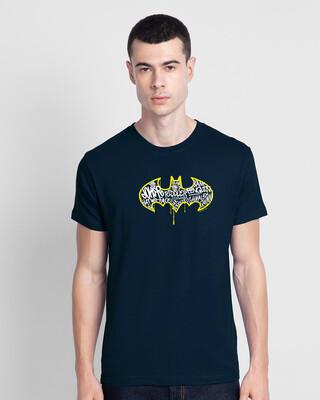 Shop Grafitti Batman Logo Half Sleeve T-Shirt Navy Blue (BML)-Front
