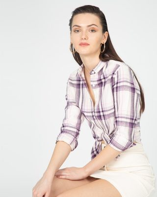 Shop Grape White Slim Shirt-Front