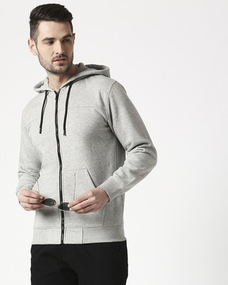 Shop Gray Melange Stylised Zipper Hoodie-Front