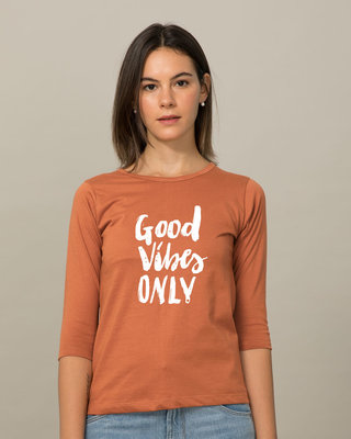 Shop Great Vibes Round Neck 3/4th Sleeve T-Shirt-Front