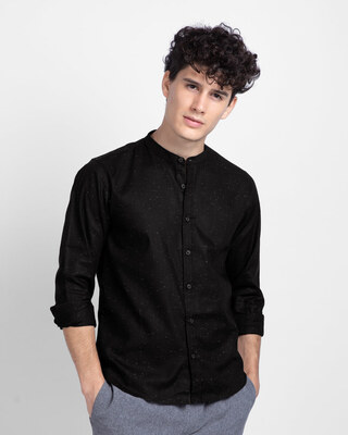 Shop Greece Black Mandarin Collar Shirt-Front