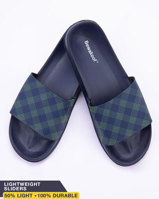 Shop Green Checks Lightweight Mens Slider-Front
