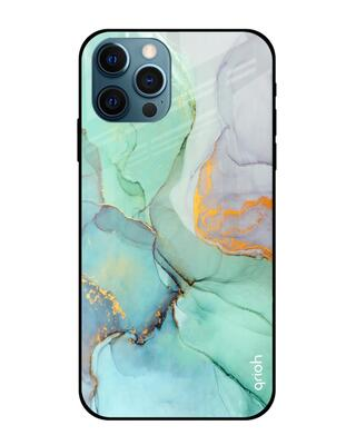 Shop Qrioh iPhone 12 Pro Green Marble Glass case-Front