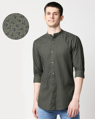 Shop Olive Madarin Collar Print Shirt-Front
