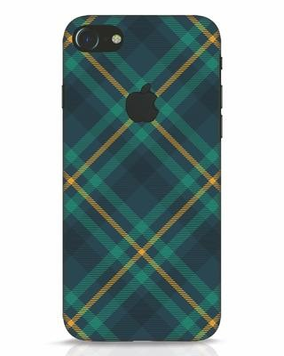 Shop Green Tartan iPhone 7 Logo Cut Mobile Cover-Front