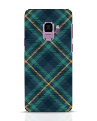 Shop Green Tartan Samsung Galaxy S9 Mobile Cover-Front