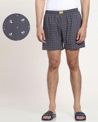 Shop Grey AOP Geometric Print D Boxers-Front