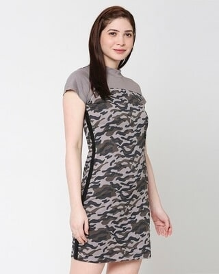 Shop Grey Camo - Frost Gray High Neck Pocket Dress-Front