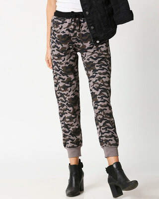 Shop Grey Camo Casual Camo Pants Jogger-Front