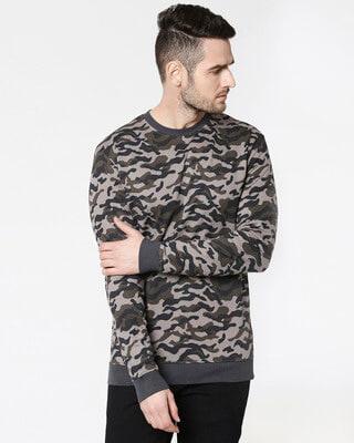 Shop Grey Camo Crewneck Camo Sweatshirt-Front