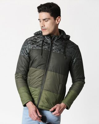 Shop Grey Camo Four Block Puffer Jacket with Detachable Hood-Front