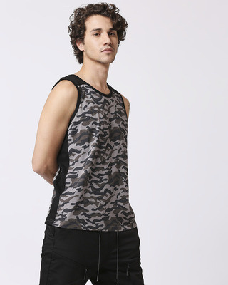Shop Grey Camo Round Neck Camo Vest-Front