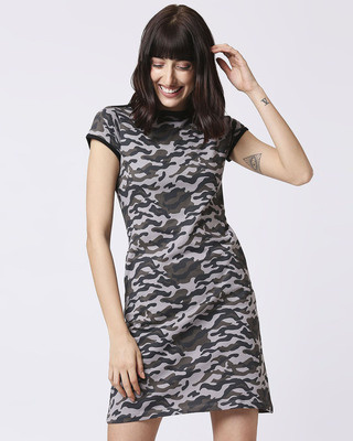 Shop Grey Camo Round Neck Pocket Dress-Front