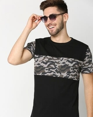 Shop Grey Camo Sleeve Color Block Camo T-Shirt-Front