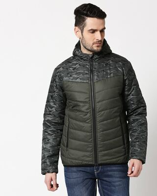 Shop Grey Camo Two Block Puffer Jacket-Front