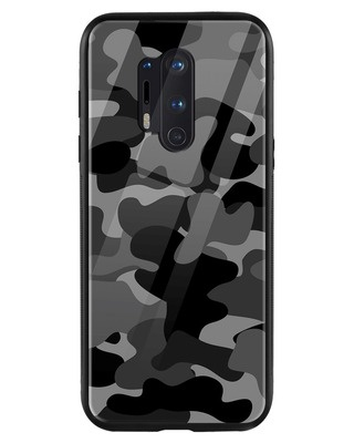 Shop Grey Camouflage OnePlus 8 Pro Mobile Cover-Front