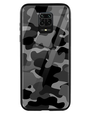 Shop Grey Camouflage Xiaomi Redmi Note 9 Pro Mobile Cover-Front