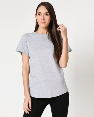 Shop Grey Melange Boyfriend T-Shirt-Front