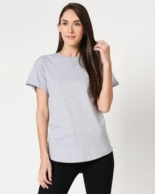 Shop Grey Melange Boyfriend T-Shirt-Front