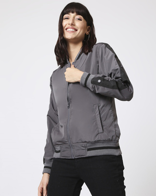 Shop Grey Stylised Shoulder Stripe Bomber Jacket-Front