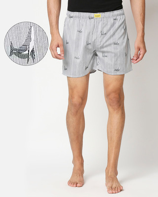 Shop Grey Stripe All Over Print Dolphin Boxer-Front