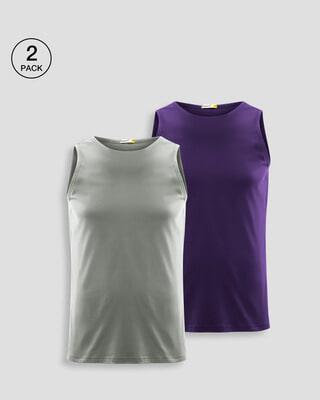 Shop Men's Plain Round Neck Vest Pack of 2 (Meteor Grey & Parachute Purple)-Front