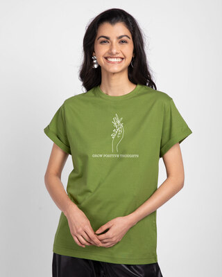 Shop Grow Positive Thoughts Boyfriend T-Shirt Woodbine Green-Front