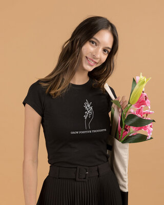 Shop Grow Positive Thoughts Half Sleeve T-Shirt Black-Front