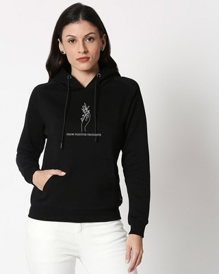 Shop Grow Positive Thoughts Sweatshirt Hoodie Black-Front