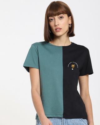 Shop Growing Hero's Women's Color Block Printed T-shirt-Front