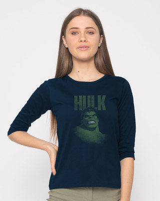 Shop Grunge Hulk Round Neck 3/4th Sleeve T-Shirt (AVL)-Front