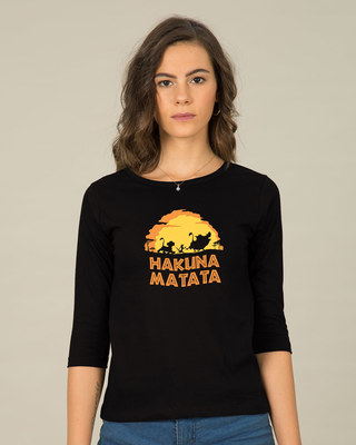 Shop Hakuna Matata Sunset Round Neck 3/4th Sleeve T-Shirt (DL)-Front