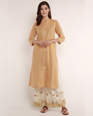 Shop Half Full Half Empty Sand Kurta With Floral Embroidered Palazzo-Front