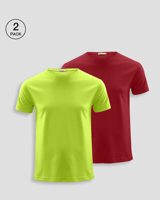 Shop Men's Plain Half Sleeve T-shirt Pack of 2 (Neon Green & Cherry Red)-Front