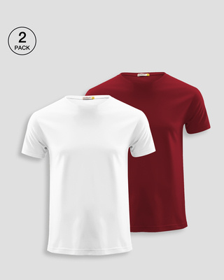 Shop Men's Half Sleeve T-Shirt Pack of 2 (Red & White)-Front