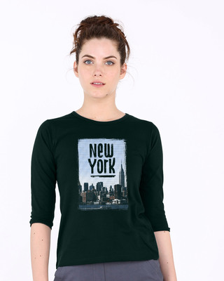 Shop Halftone New York Round Neck 3/4th Sleeve T-Shirt-Front