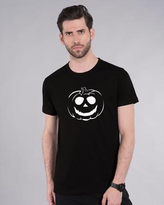 Shop Halloween Pumpkin Half Sleeve T-Shirt (GID)-Front