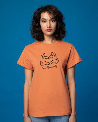 Shop Hand Heart Boyfriend T-Shirt-Front