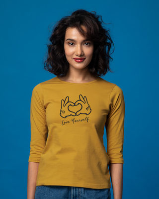 Shop Hand Heart Round Neck 3/4th Sleeve T-Shirt-Front