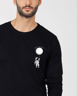 Shop Hanging Astronaut Pocket Full Sleeve T-Shirt-Front