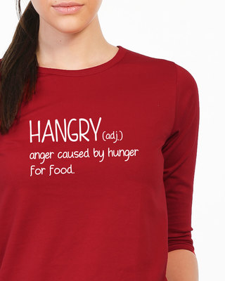 Shop Hangry Round Neck 3/4th Sleeve T-Shirt-Front