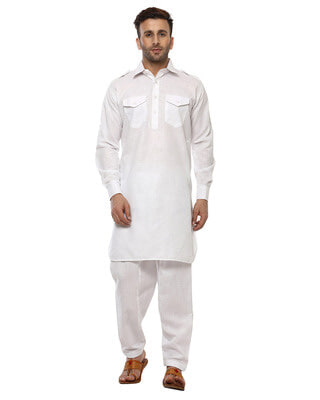 Shop Hangup Solid 2 Pics Ethnic White Pathani Set-Front