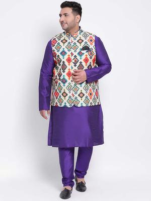 Shop Hangup 3 Pics 3Pc Kurta Pyjama Nehru-Front