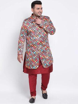 Shop Hangup 3 Pics 3Pc Kurta Pyjama Sherwani-Front