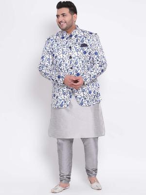 Shop Hangup 3 Pics 3Pc Silk Kurta Pyjama Blazer-Front