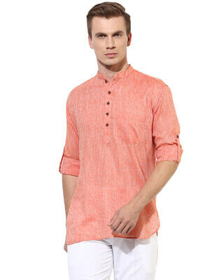 Shop Hangup Mens Solid Kurta-Front