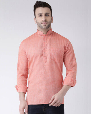 Shop Hangup Mens Solid Short Kurta-Front